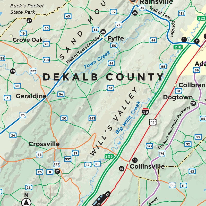 Topographic Map of DeKalb County, Alabama - Visit Lookout Mountain on