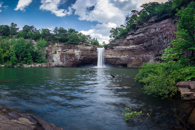 DeSoto Falls located in DeSoto State Park on Lookout Mountain in Alabama.