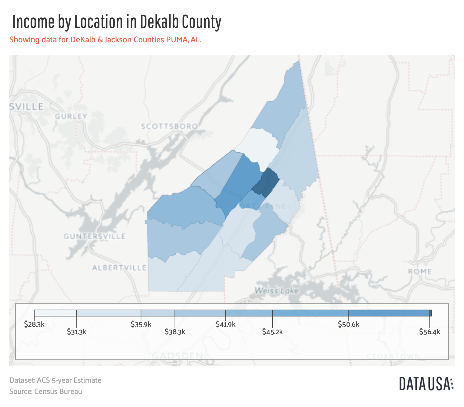 Data USA - Geo Map of _ Income by Location_ in Dekalb County - Visit Dekalb County Map on